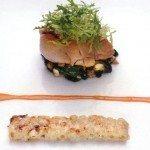 Ris de veau aux épinards, bulots et penne gratinées